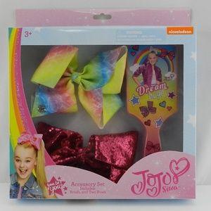 New JoJo Siwa Gift Set Brush 2 Bows Pink Sequins